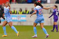 Bridgeview, IL, USA - Sunday, May 1, 2016: Chicago Red Stars defender Casey Short (6) and forward Christen Press (23) during a regular season National Women's Soccer League match between the Chicago Red Stars and the Orlando Pride at Toyota Park. Chicago won 1-0.