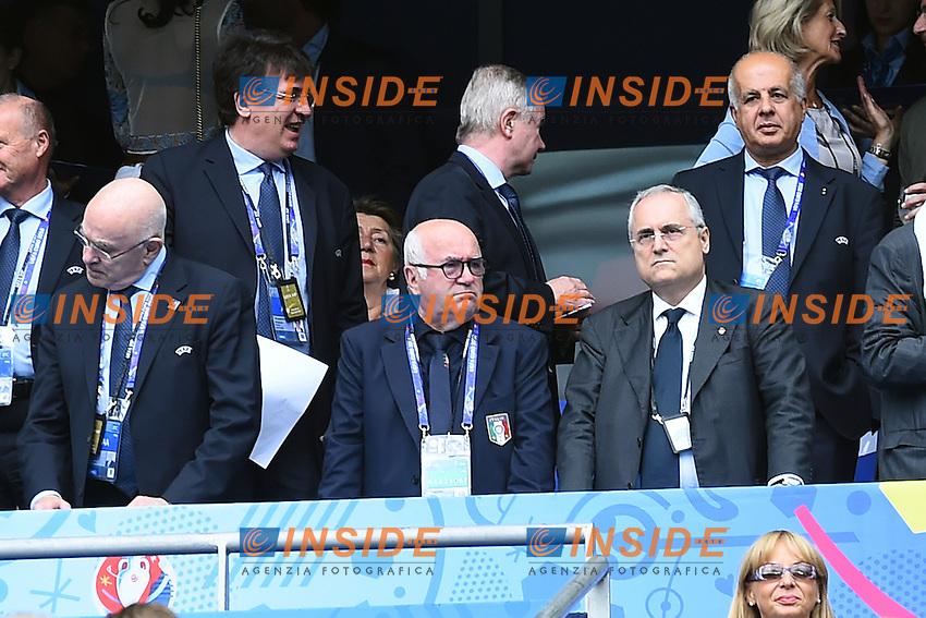 Carlo Tavecchio, Claudio Lotito <br /> Paris 27-06-2016 Stade de France Football Euro2016 Italy - Spain  / Italia - Spagna Round of 16. Foto Massimo Insabato  / Insidefoto