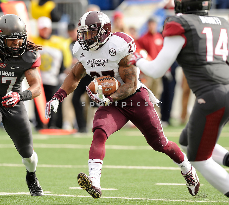 Mississippi State Bulldogs LaDarius Perkins (27) during a game against the Arkansas Razorbacks on November 23, 2013 at War Memorial Stadium in Little Rock, AR. Mississippi State beat Arkansas 24-17 in OT.
