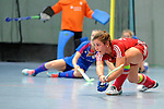 GER - Mannheim, Germany, December 19: During the 1. Bundesliga Sued Damen indoor hockey match between Mannheimer HC (blue) and Nuernberger HTC (red) on December 19, 2015 at Irma-Roechling-Halle in Mannheim, Germany. Final score 8-2 (HT 3-2). (Photo by Dirk Markgraf / www.265-images.com) *** Local caption *** Just #27 of Nuernberger HTC