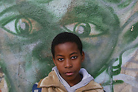 Young boy  of  Cova da Moura problematic part of Lisbon, were imigrants of african origen  live in Lisbon 16 Febraury 2006.