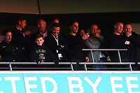 David Beckham, Gary Neville, Peter Lim, Nicky Butt and Ryan Giggs look down on their team as Salford City get ready to hold the Trophy aloft after winning the Play-Off Final during AFC Fylde vs Salford City, Vanarama National League Football Promotion Final at Wembley Stadium on 11th May 2019