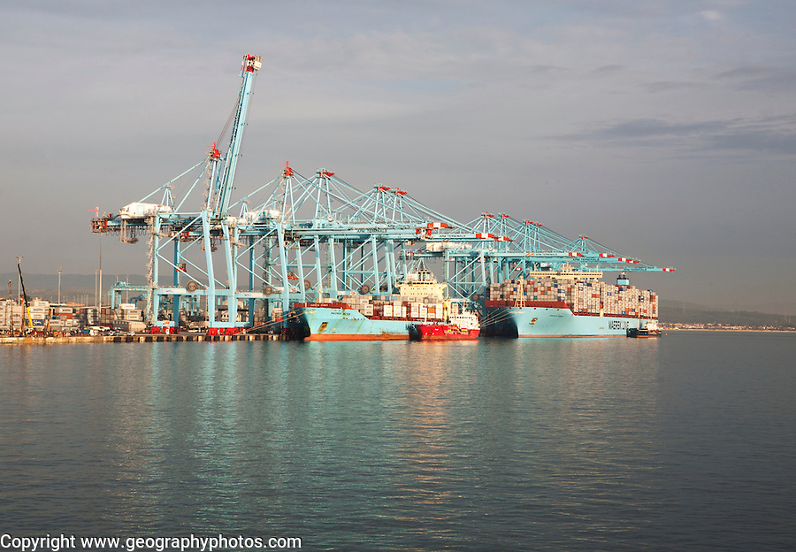 Large cranes APM Terminals container ship port at Algeciras, Cadiz Province, Spain