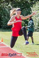 Kirkwood junior Kara Steele won the triple jump with a MO#1 39-4.5 mark, took 2nd in the 400, and anchored the winning 4x2 and 4x4 relays at the 2016 MSHSAA Class 5 District 2 Track and Field Meet at Ladue High School, St. Louis, Saturday, May 14.