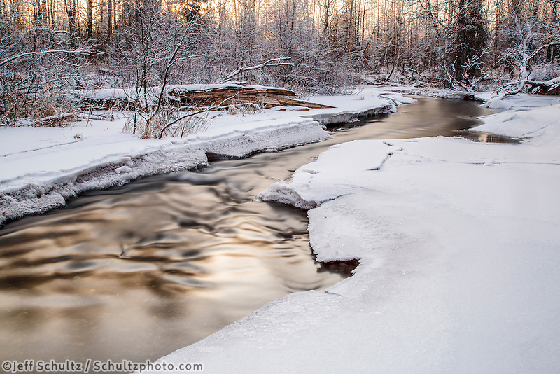 winter landscape of ice and snow covered Campbell Creek as it winds through a spruce, birch and cottonwood forest in  Anchorage.  2015