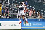 03 September 2016: Jacksonville's Jemal Johnson (ENG) (11) and Carolina's Steven Miller (behind) challenge for a header. The Carolina RailHawks hosted the Jacksonville Armada at WakeMed Stadium in Cary, North Carolina in a 2016 North American Soccer League Fall Season game. Carolina won the match 1-0.