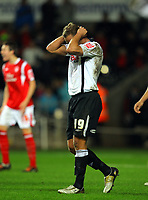ATTENTION SPORTS PICTURE DESK<br /> Pictured: Lee Trundle looks frustrated during the game<br /> Re: Coca Cola Championship, Swansea City Football Club v Nottingham Forest at the Liberty Stadium, Swansea, south Wales. Saturday 12 December 2009