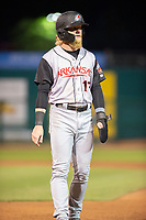 Arkansas Travelers outfielder Jake Fraley (17) stands on first during a Texas League game between the Northwest Arkansas Naturals and the Arkansas Travelers on May 30, 2019 at Arvest Ballpark in Springdale, Arkansas. (Jason Ivester/Four Seam Images)