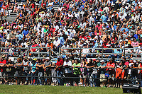 Sept. 21, 2013; Ennis, TX, USA: NHRA fans in the grandstands during the Fall Nationals at the Texas Motorplex. Mandatory Credit: Mark J. Rebilas-