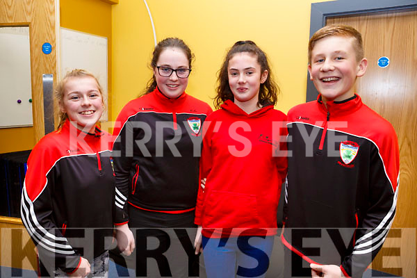 Participating in the Kerry Scor Na nOg in Austin Stack Park on Thursday evening last are, representing Kenmare.<br /> l-r, Lucy Daly, Chloe Cremin, Eabha de Faoite and Darragh O&rsquo;Connor.