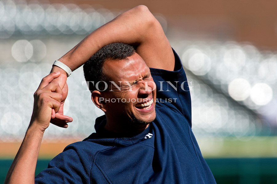 4 May 2011: New York Yankees third baseman Alex Rodriguez laughs as he stretches during warmups before the New York Yankees at Detroit Tigers Major League Baseball game at Comerica Park, in Detroit, Michigan. (Tony Ding/Icon SMI)