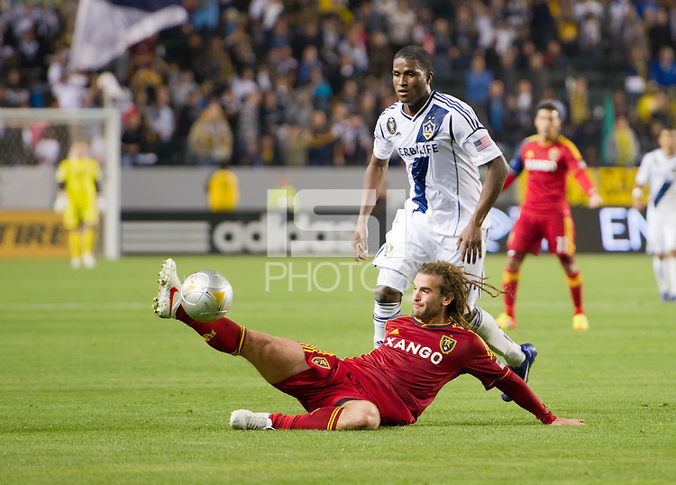 CARSON, CA - March 10,2012: Real Salt Lake midfielder Kyle Beckerman (5) against the LA Galaxy at the Home Depot Center in Carson, California. Final score LA Galaxy 1, Real Salt Lake 3.