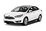2015 Ford Focus Titanium 4 Door Sedan Angular Front stock photos of front three quarter view