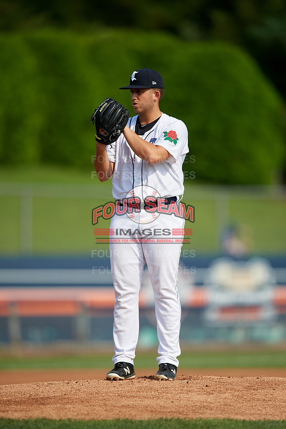 Connecticut Tigers starting pitcher Kacey Murphy (49) looks in for the sign during a game against the Lowell Spinners on August 26, 2018 at Dodd Stadium in Norwich, Connecticut.  Connecticut defeated Lowell 11-3.  (Mike Janes/Four Seam Images)