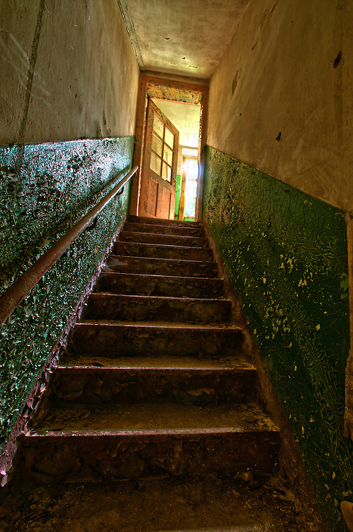 Stairs in abandoned hospital found in East Germany.