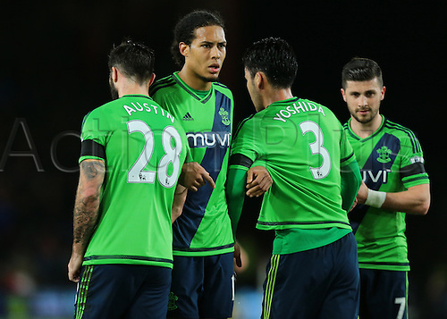 01.03.2016. Vitality Stadium, Bournemouth, England. Barclays Premier League. Bournemouth versus Southampton. Southampton Defender Virgil van Dijk helps organise a wall during a Bournemouth free kick