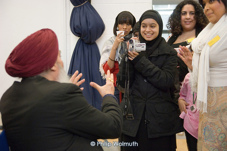 Professor Harbhajan Sing, Chair of the Multi-Faith Forum, is interviewed at a Faith Culture in Diversity Youth Conference, organised by Central London Youth Development, at the Stowe Centre, Paddington.