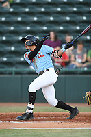 Hickory Crawdads second baseman Jonathan Ornelas (3) swings at a pitch during the game with the Augusta GreenJackets at L.P. Frans Stadium on April 24, 2019 in Hickory, North Carolina.  The Crawdads defeated the GreenJackets 5-4. (Tracy Proffitt/Four Seam Images)