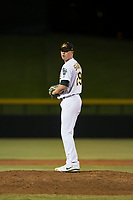 Mesa Solar Sox relief pitcher Sam Sheehan (29), of the Oakland Athletics organization, gets ready to deliver a pitch during an Arizona Fall League game against the Scottsdale Scorpions at Sloan Park on October 10, 2018 in Mesa, Arizona. Scottsdale defeated Mesa 10-3. (Zachary Lucy/Four Seam Images)