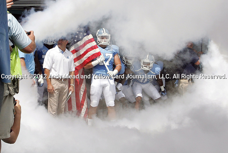 01 September 2012: UNC's Dan Mastromatteo (47) waits to lead his teammates onto the field. The University of North Carolina Tar Heels played the Elon University Phoenix at Kenan Memorial Stadium in Chapel Hill, North Carolina in a 2012 NCAA Division I Football game. UNC won the game 62-0.