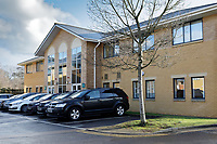 Pictured: The police force offices in Bocam Park, where the hearing is being heard in the Pencoed area of Bridgend, south Wales, UK. Friday 25 January 2019<br /> Re: Police officer Erica Ray sent a picture of a young child with photoshopped adult male genitals to colleagues in a WhatsApp group, a misconduct panel has heard in Bridgend, Wales, UK.<br /> Constable Erica Ray, who works for South Wales Police sent the image as part of an ongoing joke at the expense of another officer's height, a police misconduct panel heard.<br /> The picture caused offence to some officers in the group who deleted the picture from their own devices and later referred the matter to their supervisors.<br /> The behaviour amounted to discreditable conduct said presenting counsel for South Wales Police, Jonathan Walters.<br /> PC Ray had been working in the management of sex offenders and violent offenders team at Cardiff Bay police station when the incident occurred on December 15, 2017.