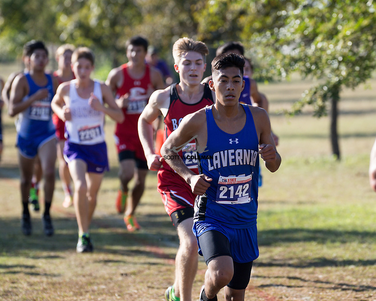 Ryan Leija of La Vernia High School runs in the Boys Class 4A UIL Cross Country State Championships at Old Settlers Park in Round Rock, Texas, on November 12, 2016.