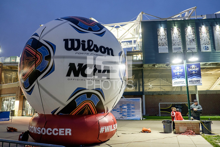 Chester, PA - Friday December 08, 2017: Inflatable soccer ball prior to a NCAA Men's College Cup semifinal soccer match between the Stanford Cardinal and the Akron Zips at Talen Energy Stadium.