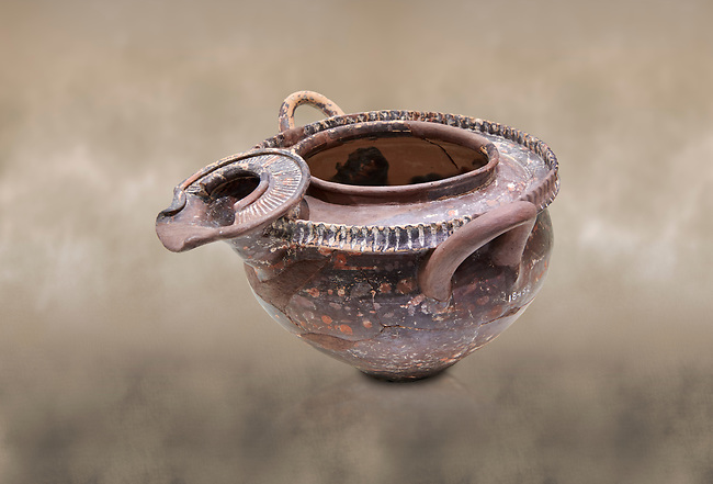 "Minoan luxury ""teapot"" with elaborate spout from Phaistos Palace 1800-1600 BC; Heraklion Archaeological  Museum.<br /> <br /> This style of pottery is named afetr Kamares cave where this style of pottery was first found"
