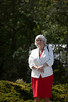 Former Conservative party government minister Ann Widdecombe waiting to speak on stage at a Brexit Party event in Chester, Cheshire. The keynote speech was given by the Brexit Party leader Nigel Farage MEP. The event was attended by around 300 people and was one of the first since the formation of the Brexit Party by Nigel Farage in Spring 2019.