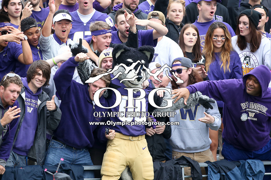 03 September 2016:  Washington's Harry The Husky celebrated with fans in the stands against Rutgers.  Washington defeated Rutgers 48-13 at the University of Washington in Seattle, WA.