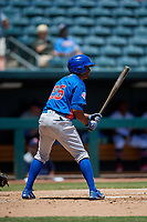 Tennessee Smokies Roberto Caro (25) at bat during a Southern League game against the Jacksonville Jumbo Shrimp on April 29, 2019 at Baseball Grounds of Jacksonville in Jacksonville, Florida.  Tennessee defeated Jacksonville 4-1.  (Mike Janes/Four Seam Images)