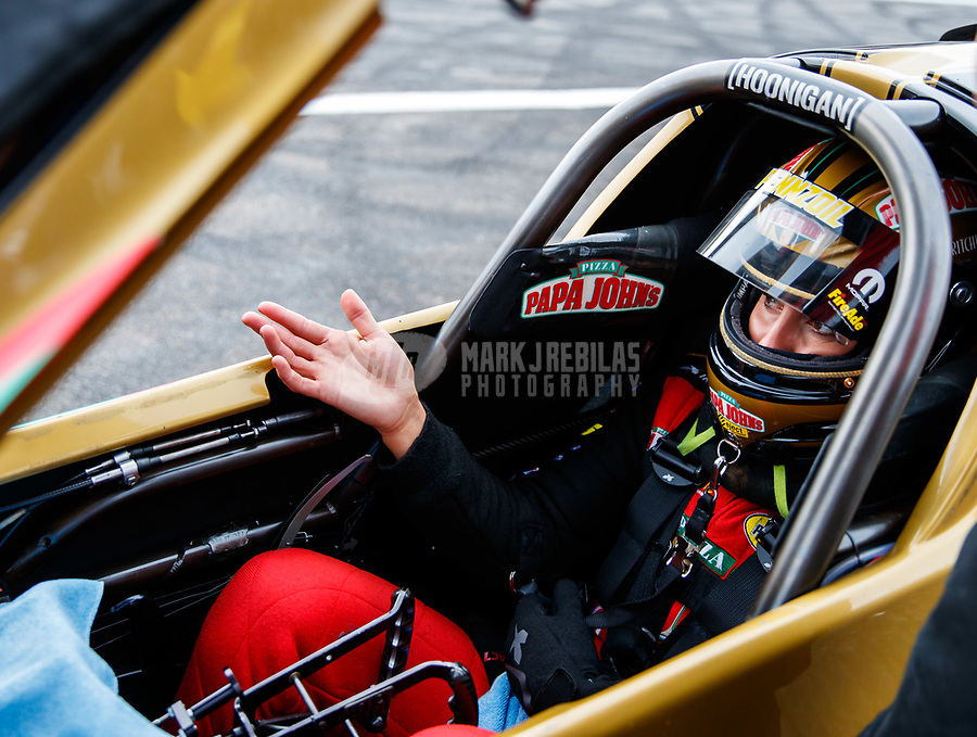 Aug 18, 2017; Brainerd, MN, USA; NHRA top fuel driver Leah Pritchett during qualifying for the Lucas Oil Nationals at Brainerd International Raceway. Mandatory Credit: Mark J. Rebilas-USA TODAY Sports