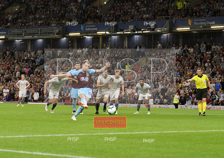 02/08/2018 Europa League Second Qualifying Round 2nd leg Burnley v Aberdeen<br /> <br /> Ashley Barnes scores from the penalty spot in extra time