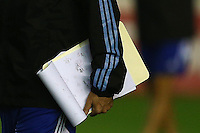 A detailed shot of the tactics board of Argentina coach Alejandro Sabella