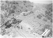 Aftermath of Barranca Hill wreck on July 17, 1929.<br /> D&amp;RGW  Barranca Hill, NM  7/17/1929