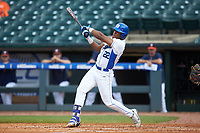 Jalen Phillips (22) of the Duke Blue Devils follows through on his swing against the Virginia Cavaliers in Game Seven of the 2017 ACC Baseball Championship at Louisville Slugger Field on May 25, 2017 in Louisville, Kentucky. The Blue Devils defeated the Cavaliers 4-3. (Brian Westerholt/Four Seam Images)