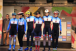 Canadian team at sign on for the start of the Women Elite Road Race of the UCI World Championships 2019 running 149.4km from Bradford to Harrogate, England. 28th September 2019.<br /> Picture: Eoin Clarke | Cyclefile<br /> <br /> All photos usage must carry mandatory copyright credit (© Cyclefile | Eoin Clarke)