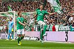 01.09.2019, wohninvest WESERSTADION, Bremen, GER, 1.FBL, Werder Bremen vs FC Augsburg<br /> <br /> DFL REGULATIONS PROHIBIT ANY USE OF PHOTOGRAPHS AS IMAGE SEQUENCES AND/OR QUASI-VIDEO.<br /> <br /> im Bild / picture shows<br /> Jubel 3:2, <br /> Joshua Sargent (Werder Bremen #19), <br /> Vorlagengeber Marco Friedl (Werder Bremen #32) freut sich über 3:2, <br /> <br /> Foto © nordphoto / Ewert