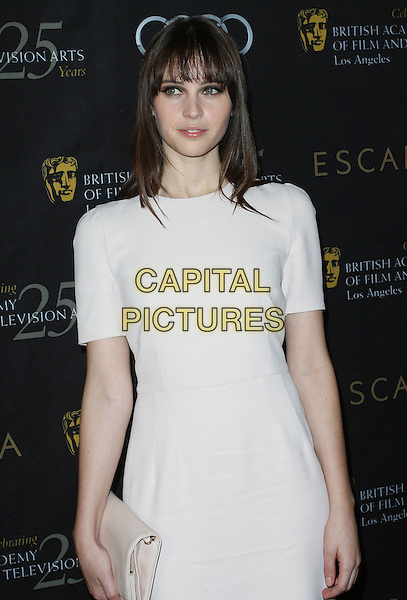 Felicity Jones.18th Annual BAFTA Los Angeles Awards Season Tea Party held at the Four Seasons Hotel, Beverly Hills, California, USA..January 14th, 2012.half length  white dress.CAP/ADM/KB.©Kevan Brooks/AdMedia/Capital Pictures.