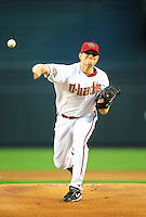 Apr. 26, 2011; Phoenix, AZ, USA; Arizona Diamondbacks pitcher Daniel Hudson throws in the first inning against the Philadelphia Phillies at Chase Field. Mandatory Credit: Mark J. Rebilas-