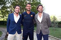 New AS Roma player Leonardo Spinazzola poses for photographers with his agents Luca Pennacchi and Davide Lippi <br /> Roma 26-06-2019 Villa Stuart <br /> Photo Gino Mancini/Insidefoto
