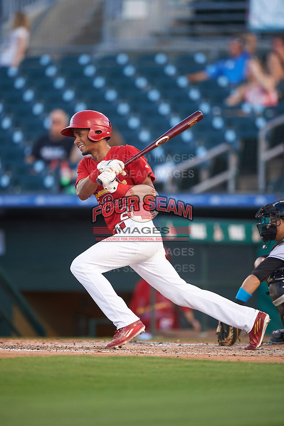Palm Beach Cardinals center fielder Oscar Mercado (21) at bat during a game against the Jupiter Hammerheads  on August 12, 2016 at Roger Dean Stadium in Jupiter, Florida.  Jupiter defeated Palm Beach 9-0.  (Mike Janes/Four Seam Images)