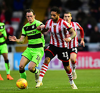 Lincoln City's Bruno Andrade vies for possession with Forest Green Rovers' Theo Archibald<br /> <br /> Photographer Andrew Vaughan/CameraSport<br /> <br /> The EFL Sky Bet League Two - Lincoln City v Forest Green Rovers - Saturday 3rd November 2018 - Sincil Bank - Lincoln<br /> <br /> World Copyright &copy; 2018 CameraSport. All rights reserved. 43 Linden Ave. Countesthorpe. Leicester. England. LE8 5PG - Tel: +44 (0) 116 277 4147 - admin@camerasport.com - www.camerasport.com