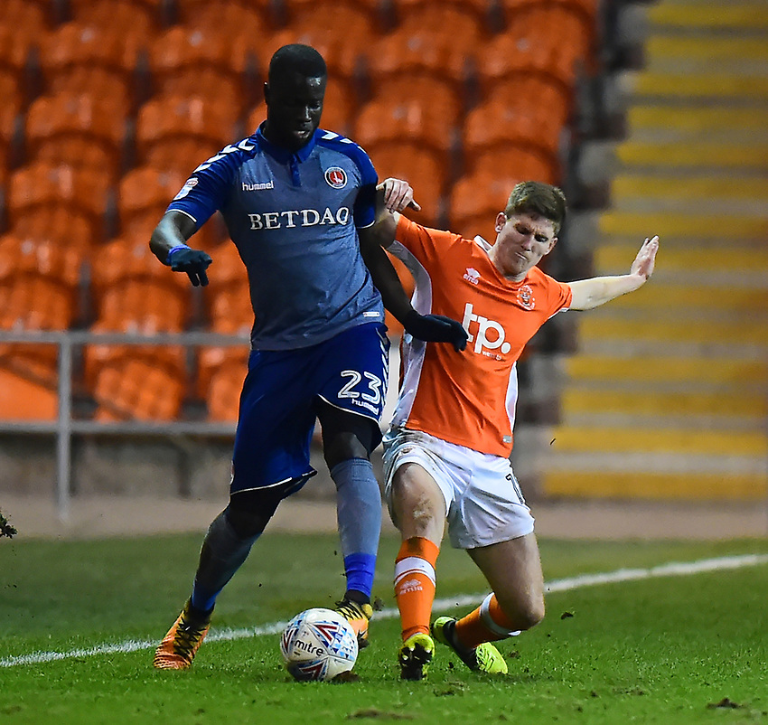 Blackpool's Daniel Philliskirk is tackled by Charlton Athletic's Karlan Ahearne-Grant<br /> <br /> Photographer Richard Martin-Roberts/CameraSport<br /> <br /> The EFL Sky Bet League One - Blackpool v Charlton Athletic - Tuesday 13th March 2018 - Bloomfield Road - Blackpool<br /> <br /> World Copyright &not;&copy; 2018 CameraSport. All rights reserved. 43 Linden Ave. Countesthorpe. Leicester. England. LE8 5PG - Tel: +44 (0) 116 277 4147 - admin@camerasport.com - www.camerasport.com