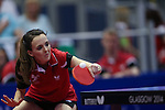Glasgow 2014 Commonwealth Games<br /> Megan Phillips in action in the doubles against Vanuatu.<br /> Scotstoun Table Tennis<br /> <br /> 25.07.14<br /> ©Steve Pope-SPORTINGWALES