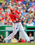 1 May 2011: Washington Nationals infielder Ian Desmond connects against the San Francisco Giants at Nationals Park in Washington, District of Columbia. The Nationals defeated the Giants 5-2. Mandatory Credit: Ed Wolfstein Photo