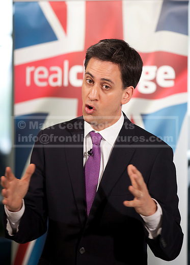 08/07/2012. LONDON, UK. Labour Leader, Ed Miliband, answers questions after giving a talk on responsible banking at the Cooperative Bank in East London today (09/07/12). Photo credit: Matt Cetti-Roberts