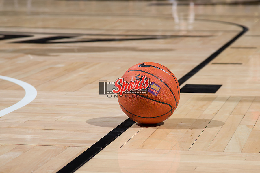 A Nike basketball sits on the court during a second half stoppage in play in the NCAA men's basketball game between the UNCG Spartans and the Wake Forest Demon Deacons at the LJVM Coliseum on December 15, 2015 in Winston-Salem, North Carolina.  The Demon Deacons defeated the Spartans 81-71.  (Brian Westerholt/Sports On Film)
