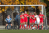 Boston College midfielder Kristen Mewis (19) scoring on direct kick. Boston College defeated Marist College, 6-1, in NCAA tournament play at Newton Campus Field, November 13, 2011.