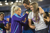 Orlando, Florida - Saturday, April 23, 2016: Orlando Pride goalkeeper Ashlyn Harris (1) signs autographs for a fan after an NWSL match between Orlando Pride and Houston Dash at the Orlando Citrus Bowl.